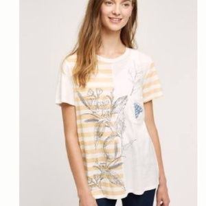 Anthropologie Postmark Striped Embroidered Moth